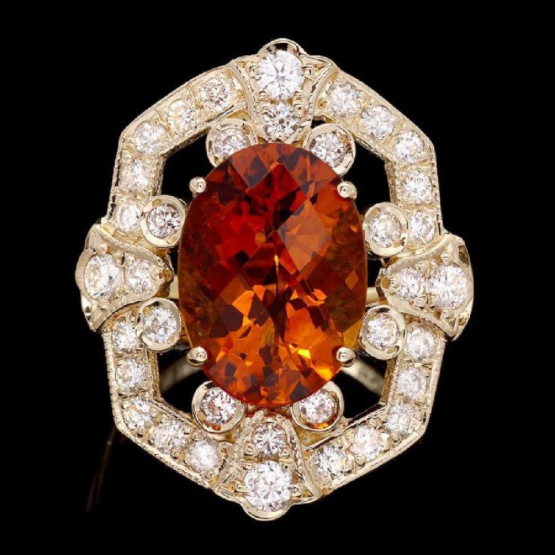 14k Gold 5.40ct Citrine 1.30ct Diamond Ring