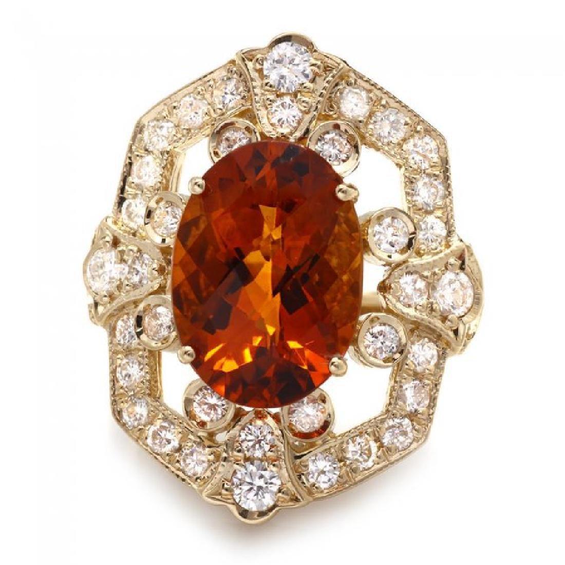 14k Gold 5.40ct Citrine 1.30ct Diamond Ring - 2