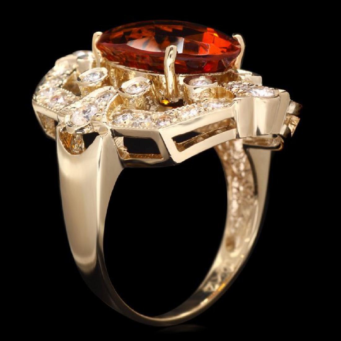 14k Gold 5.40ct Citrine 1.30ct Diamond Ring - 3
