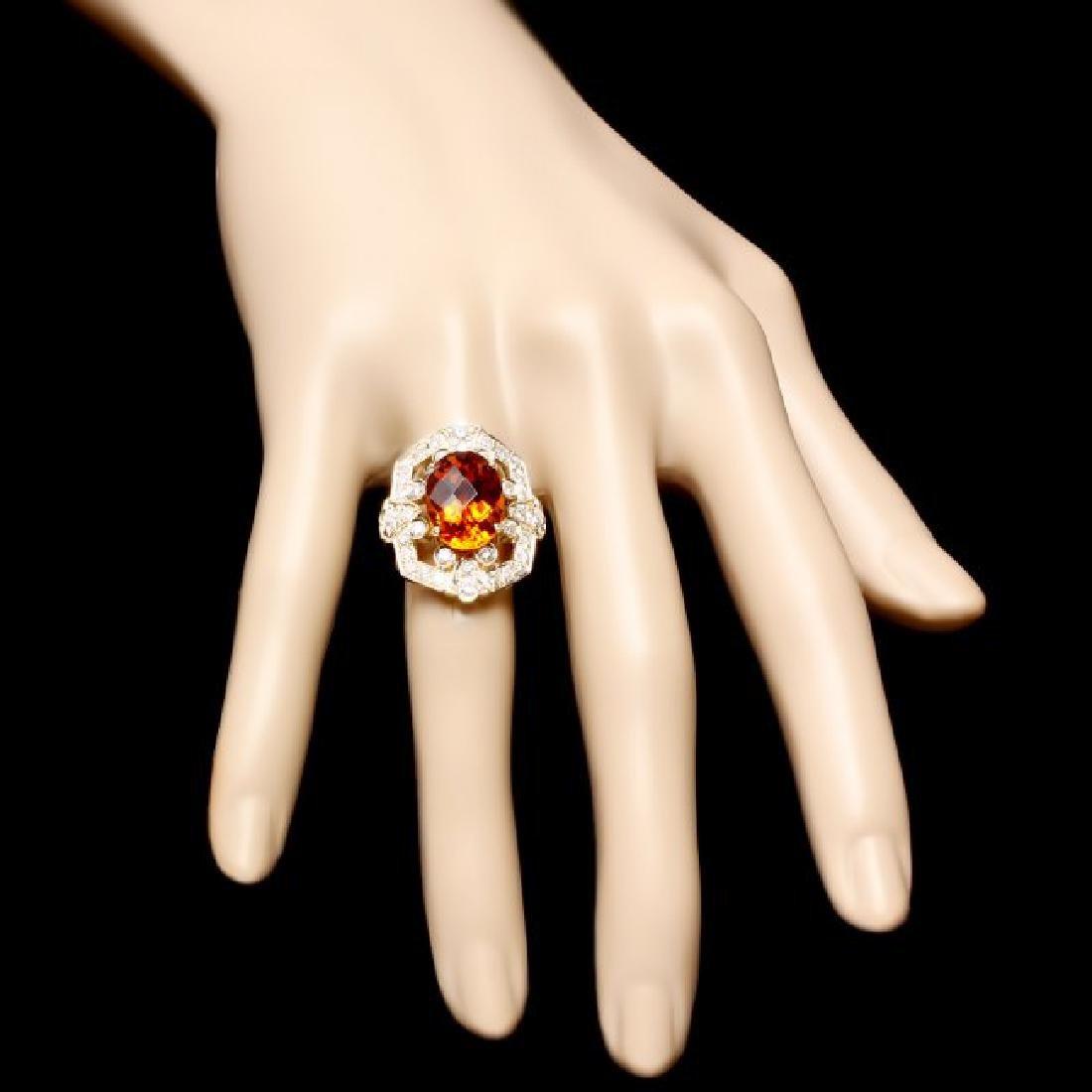 14k Gold 5.40ct Citrine 1.30ct Diamond Ring - 4