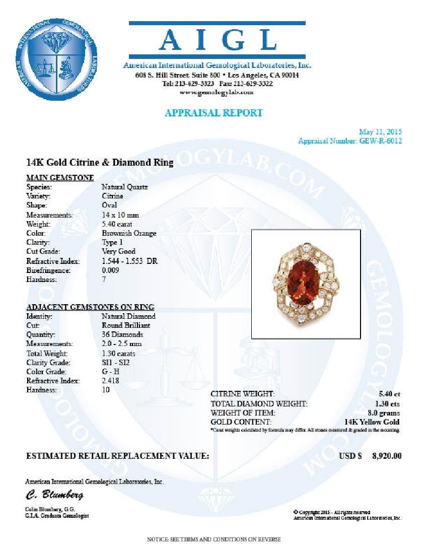 14k Gold 5.40ct Citrine 1.30ct Diamond Ring - 5