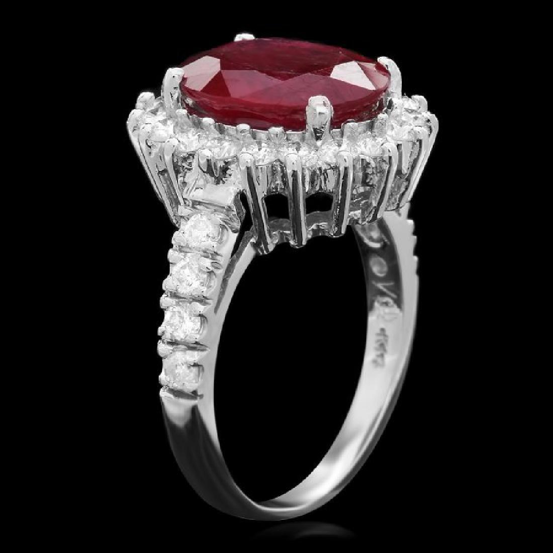 14k White Gold 5.00ct Ruby 1.15ct Diamond Ring - 2
