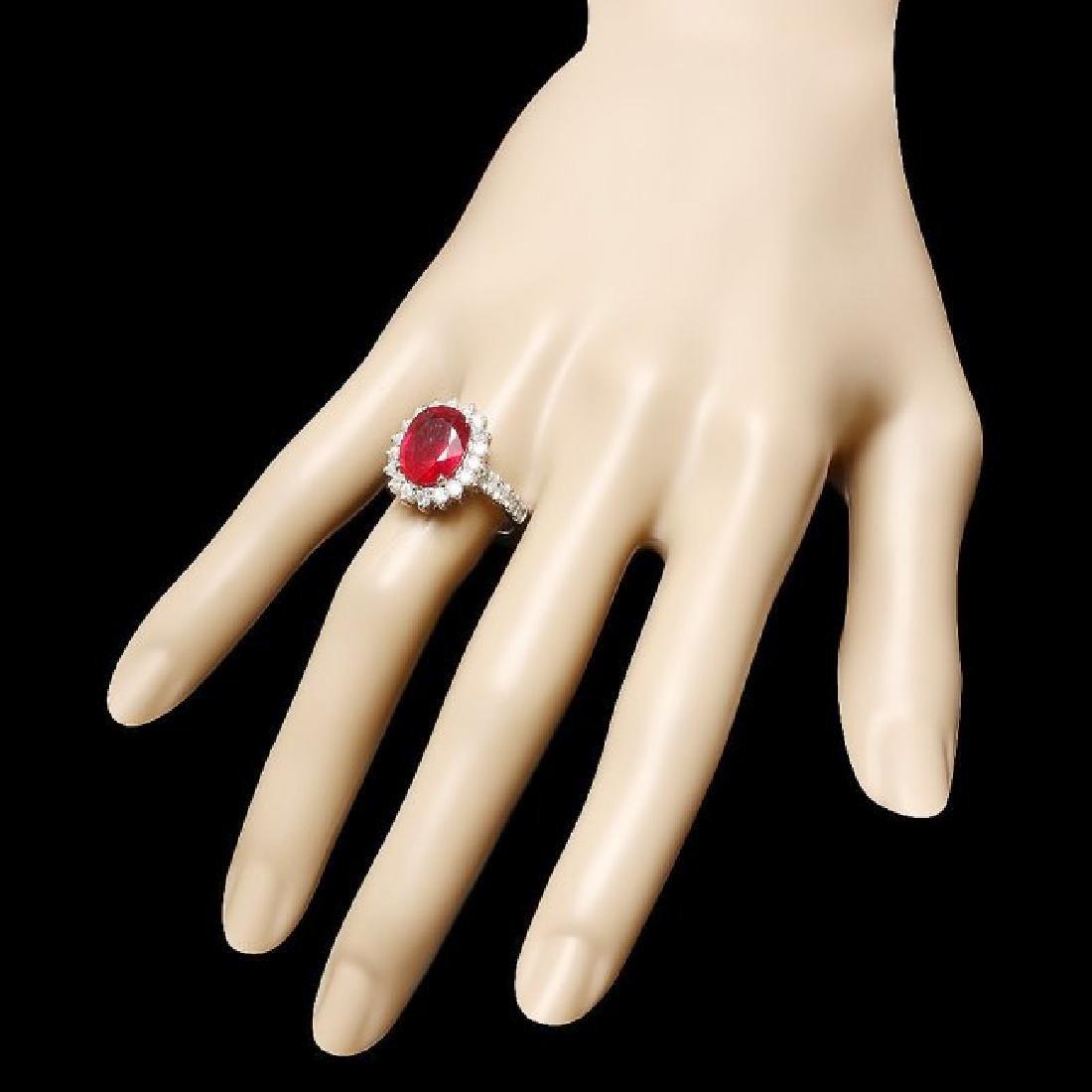14k White Gold 5.00ct Ruby 1.15ct Diamond Ring - 3