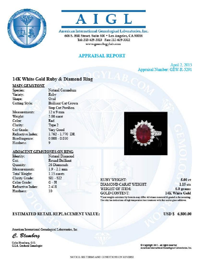 14k White Gold 5.00ct Ruby 1.15ct Diamond Ring - 4