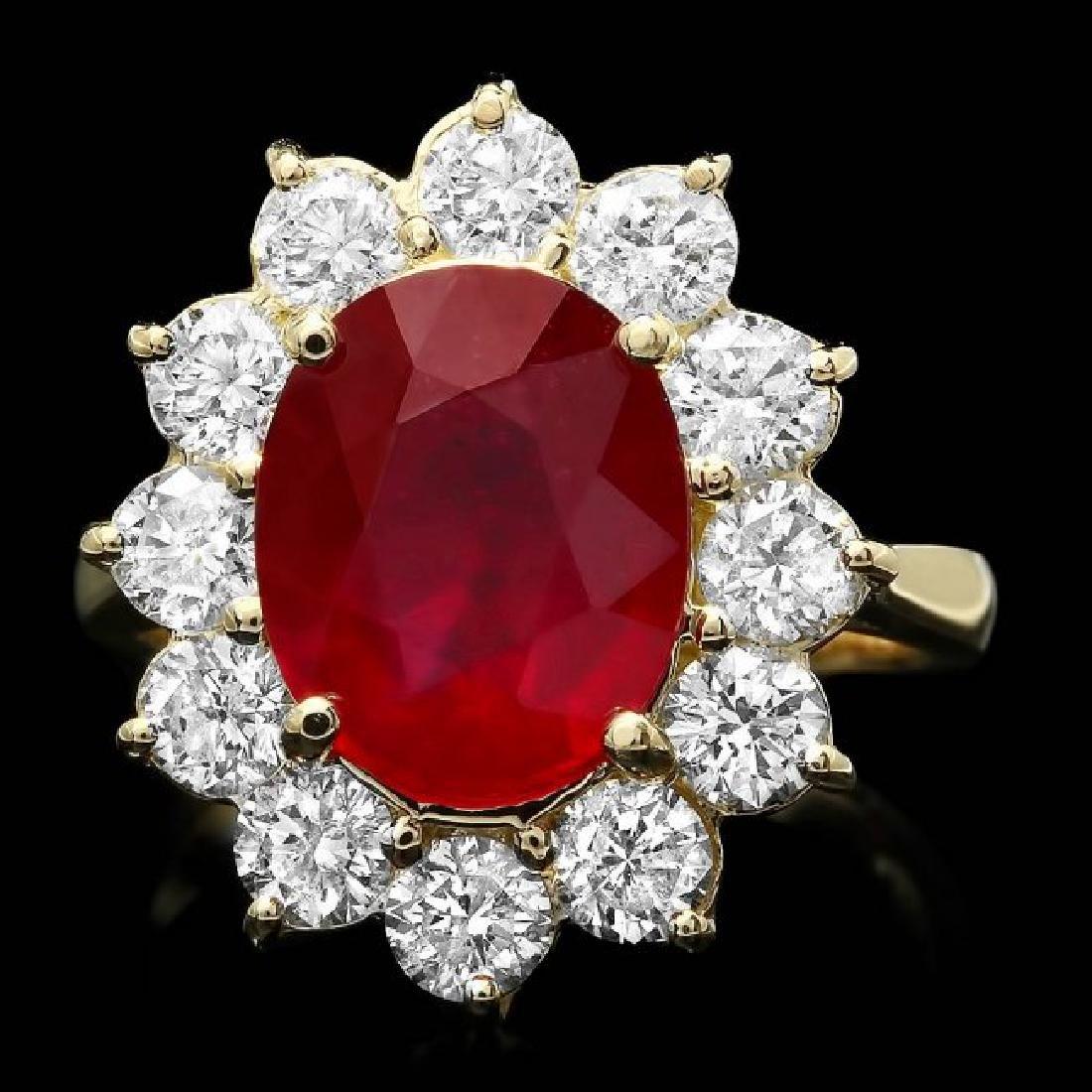 14k Yellow Gold 5.00ct Ruby 2.00ct Diamond Ring