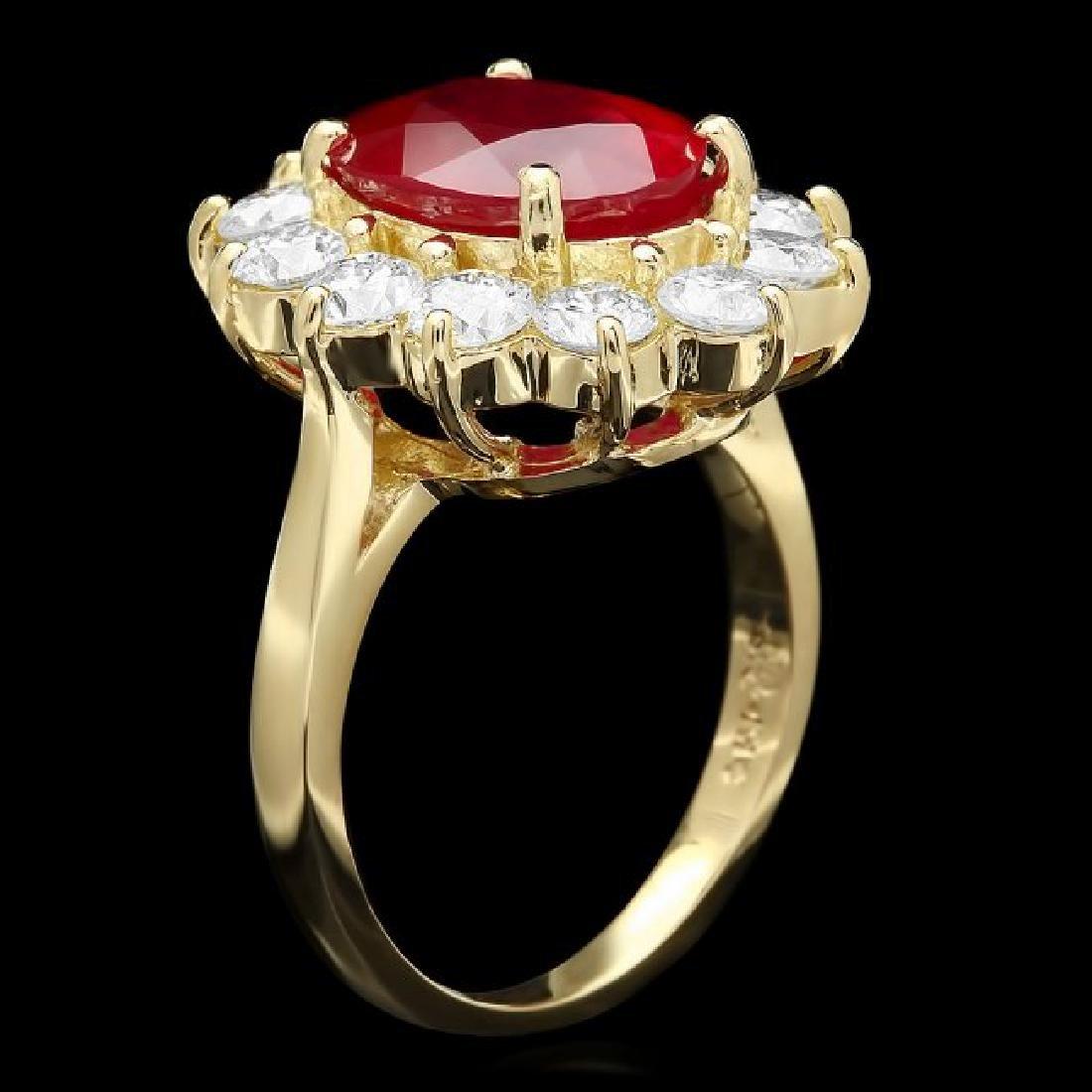 14k Yellow Gold 5.00ct Ruby 2.00ct Diamond Ring - 2