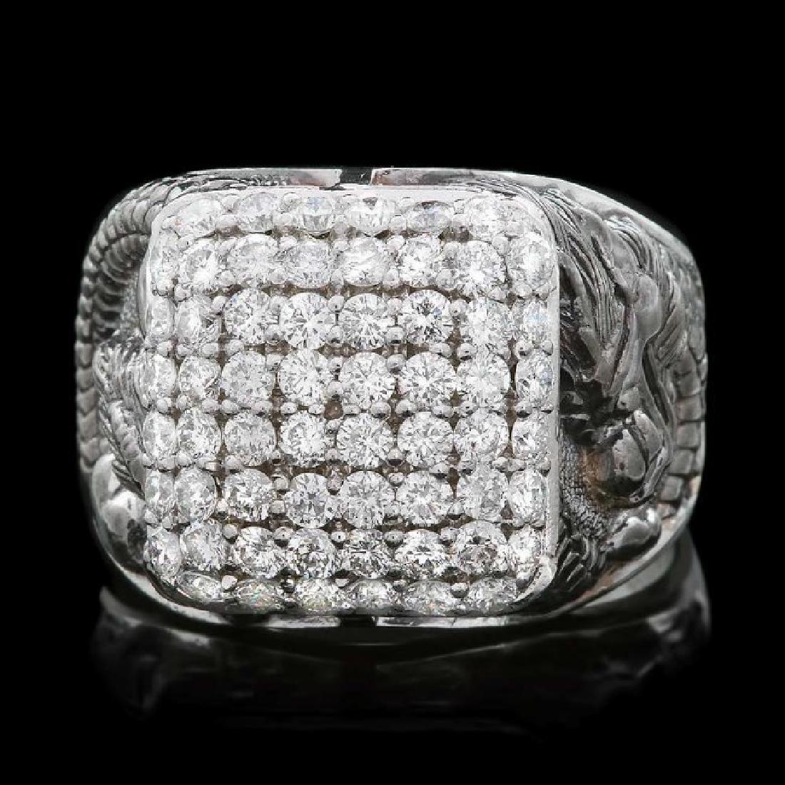 14k White Gold 2.00ct Diamond Mens Ring - 2