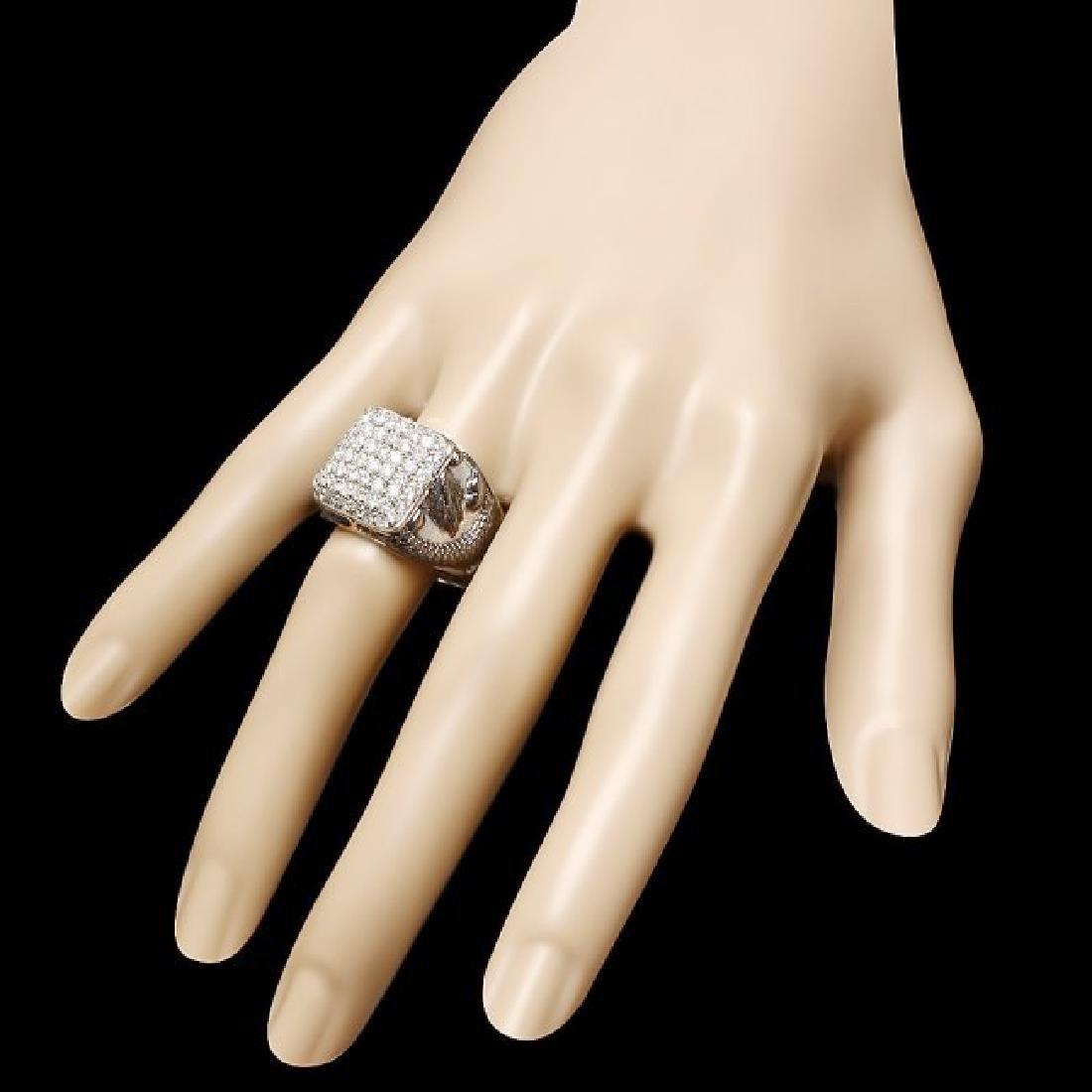 14k White Gold 2.00ct Diamond Mens Ring - 3