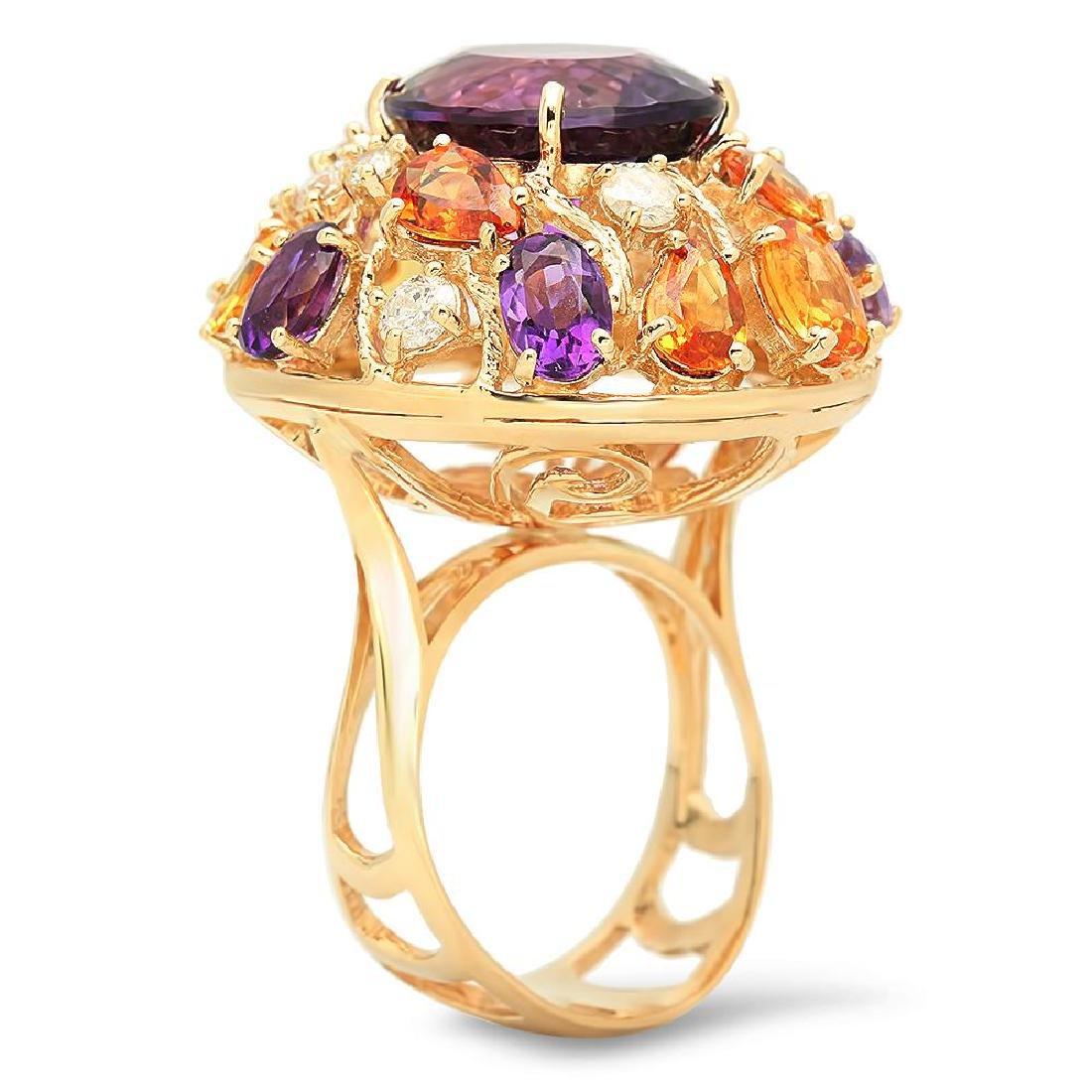 14K Gold 8.26ct Amethyst 6.46ct Sapphire 0.7cts Diamond - 2