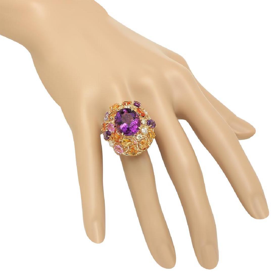 14K Gold 8.26ct Amethyst 6.46ct Sapphire 0.7cts Diamond - 3