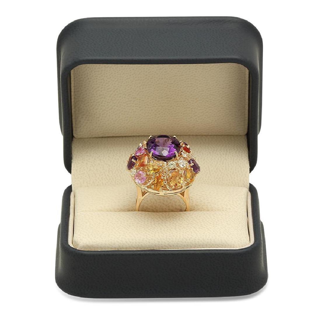14K Gold 8.26ct Amethyst 6.46ct Sapphire 0.7cts Diamond - 4
