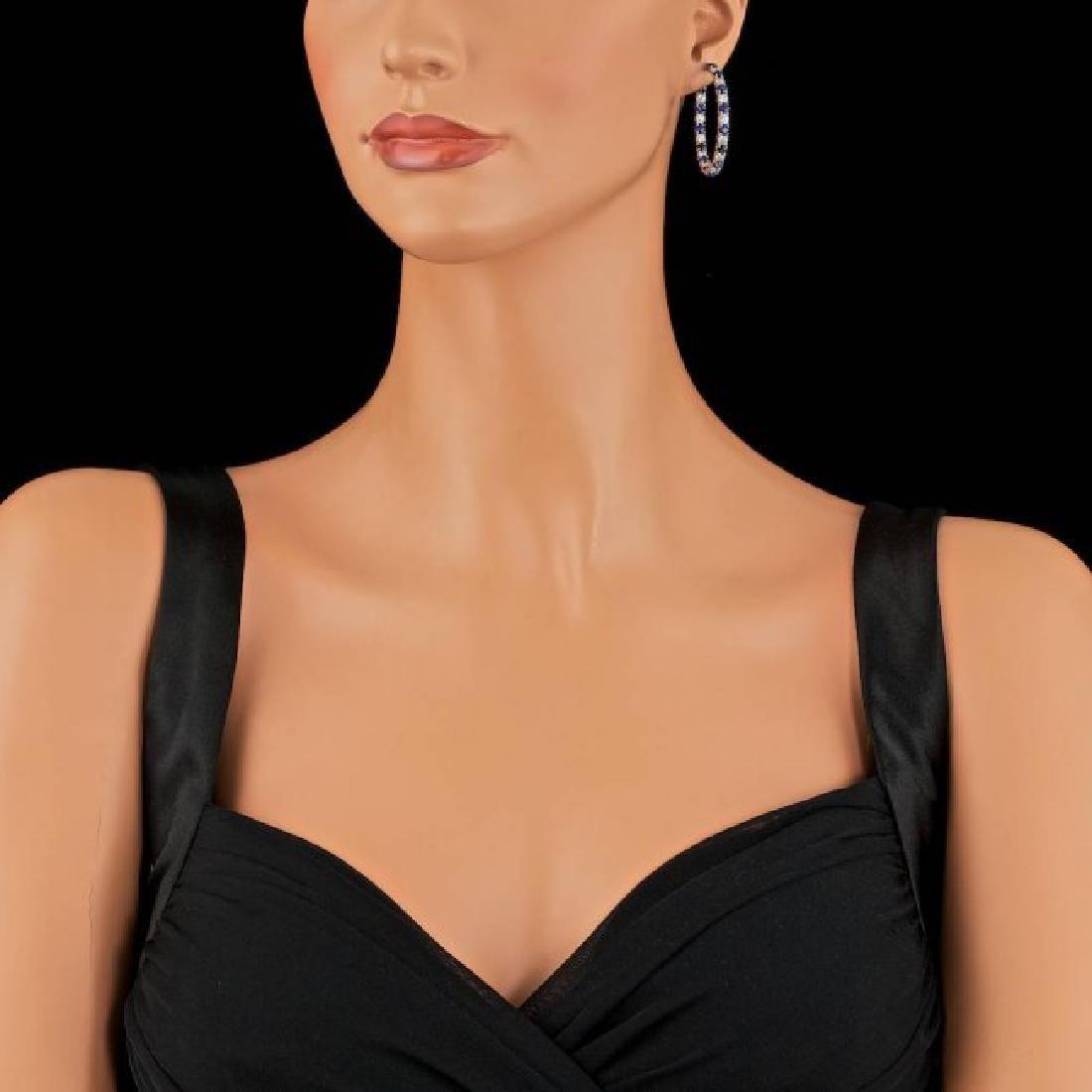 14k Gold 6.00ct Sapphire 3.20ct Diamond Earrings - 3