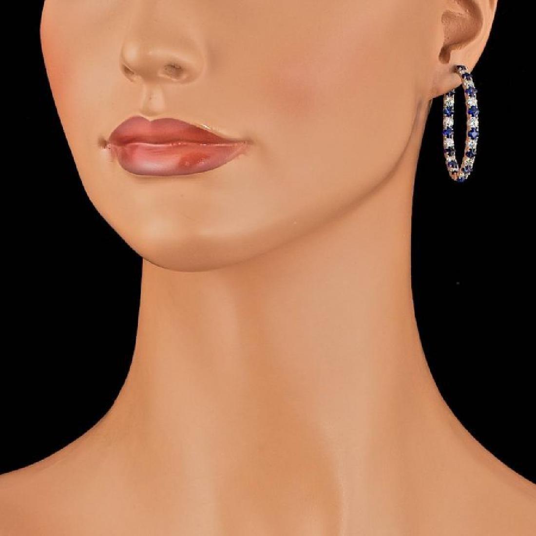 14k Gold 6.00ct Sapphire 3.20ct Diamond Earrings - 4