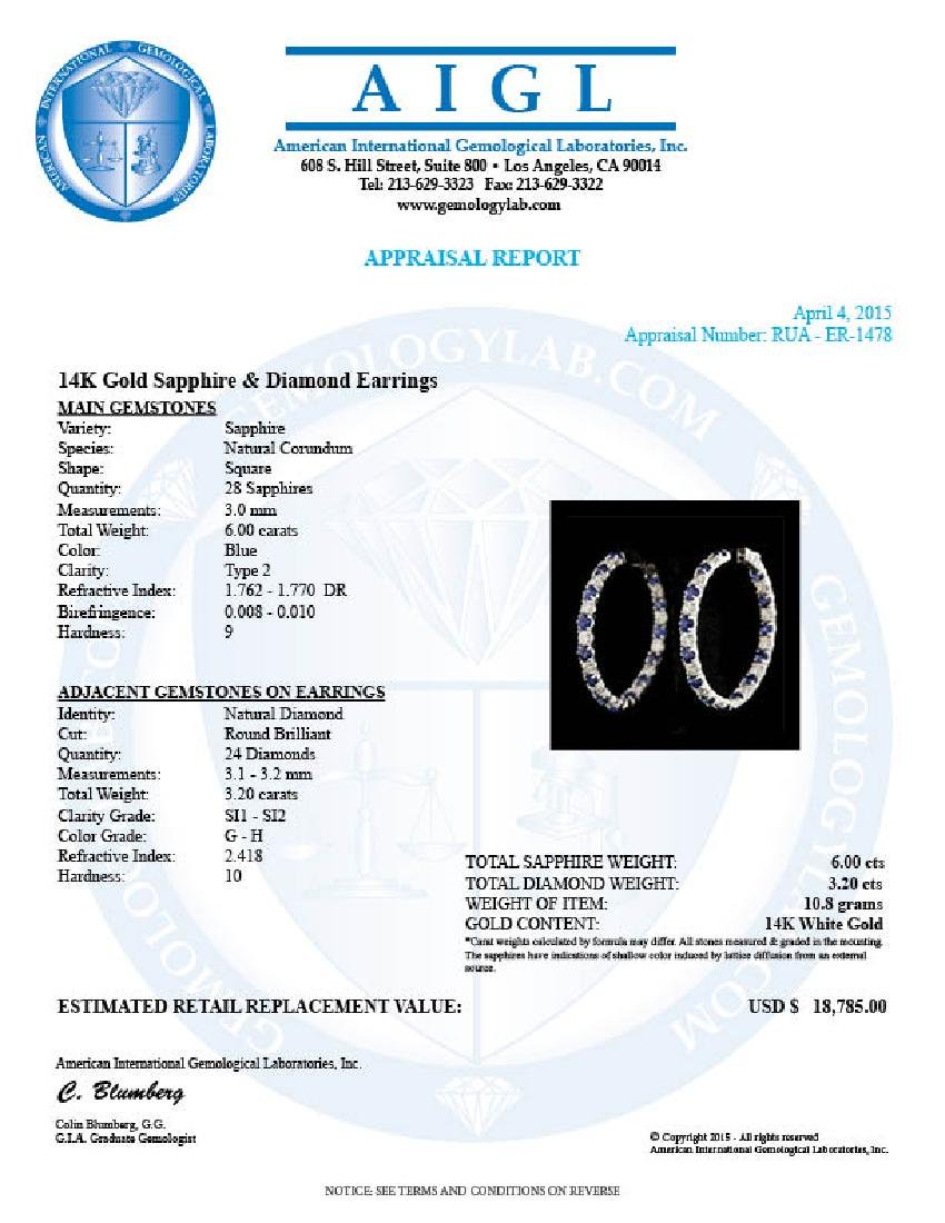 14k Gold 6.00ct Sapphire 3.20ct Diamond Earrings - 5