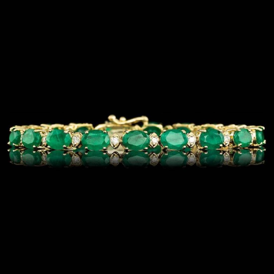 14k Gold 14.00ct Emerald 1.00ct Diamond Bracelet - 3