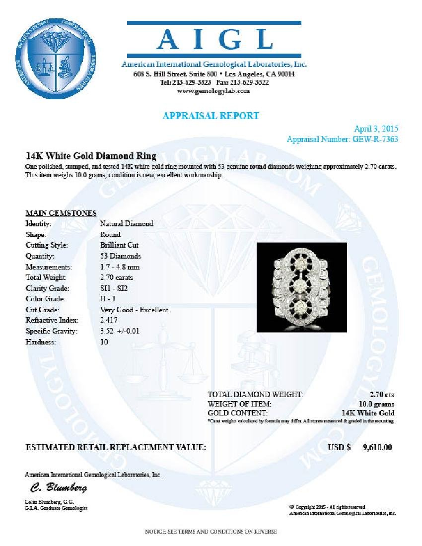 14k White Gold 2.7ct Diamond Ring - 4