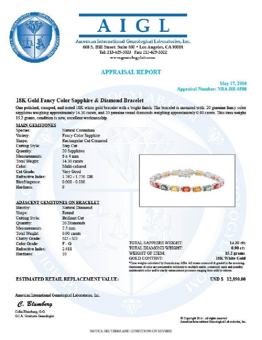 18K Gold 14.30ct Fancy Color Sapphire .9ct Diamond - 4