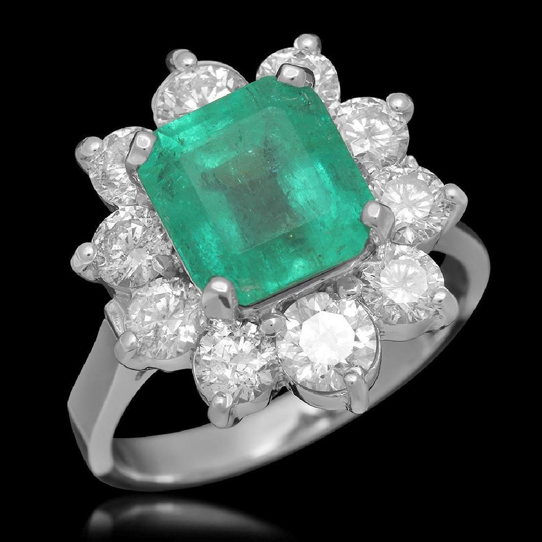 14K Gold 3.49ct Emerald 2.00ct Diamond Ring