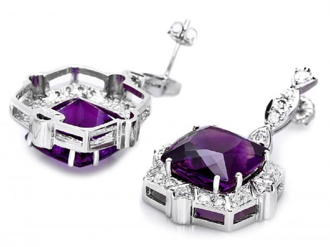 14k Gold 24ct Amethyst 1.85ct Diamond Earrings - 2