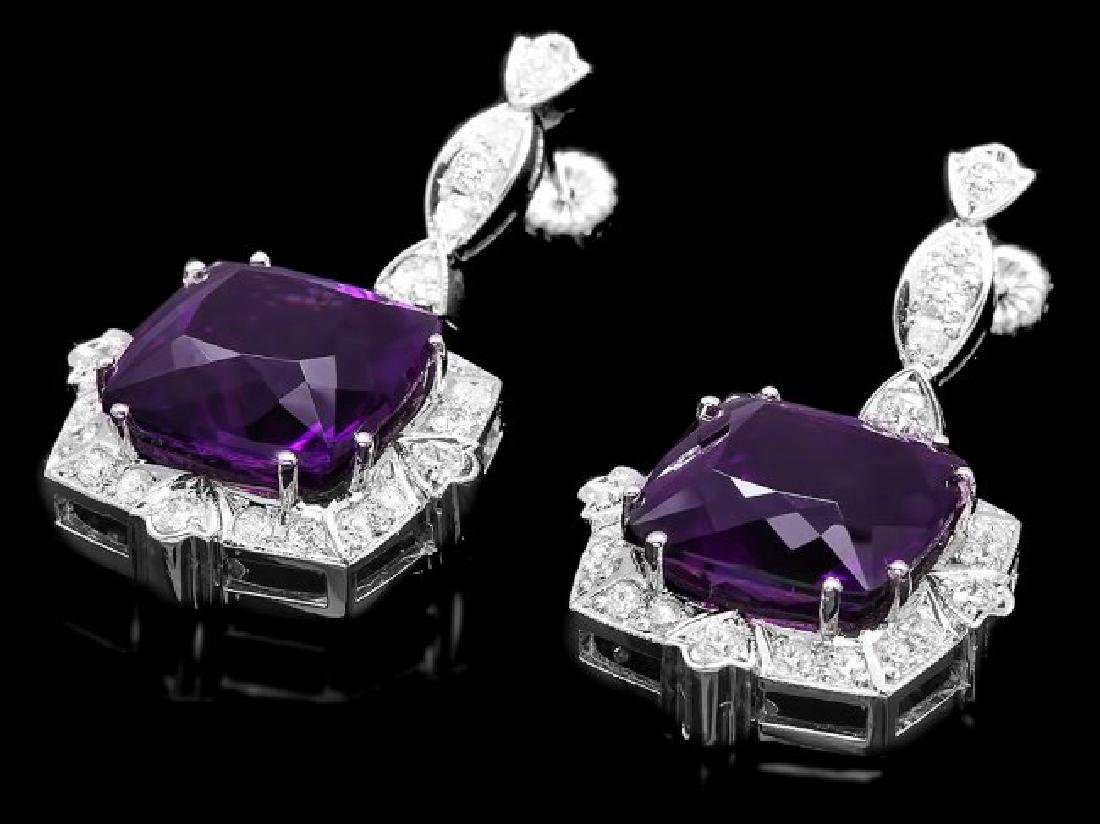 14k Gold 24ct Amethyst 1.85ct Diamond Earrings - 3