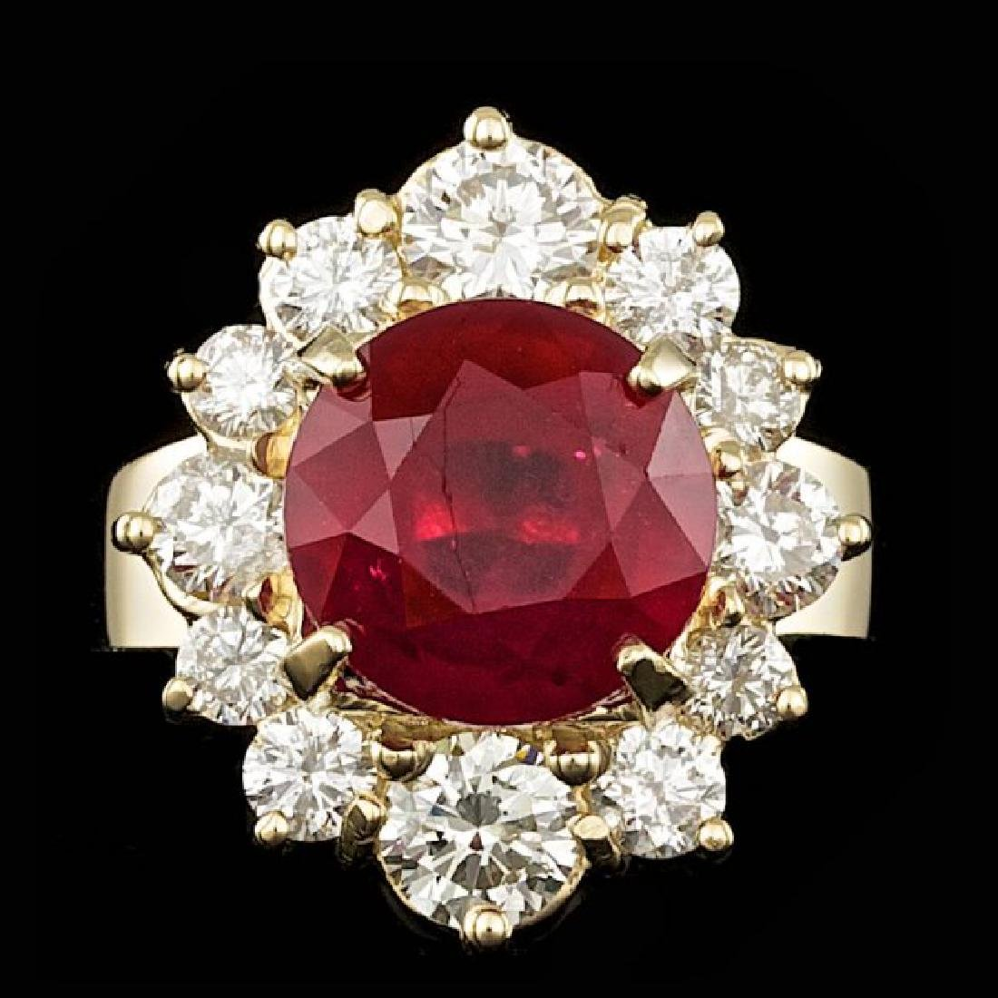14k Yellow Gold 5.50ct Ruby 1.85ct Diamond Ring