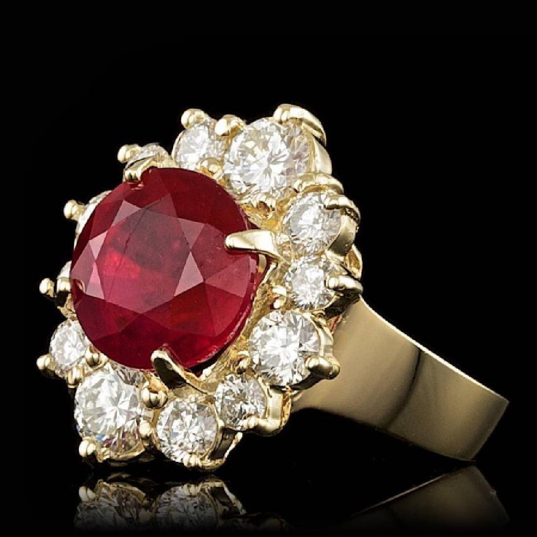 14k Yellow Gold 5.50ct Ruby 1.85ct Diamond Ring - 2