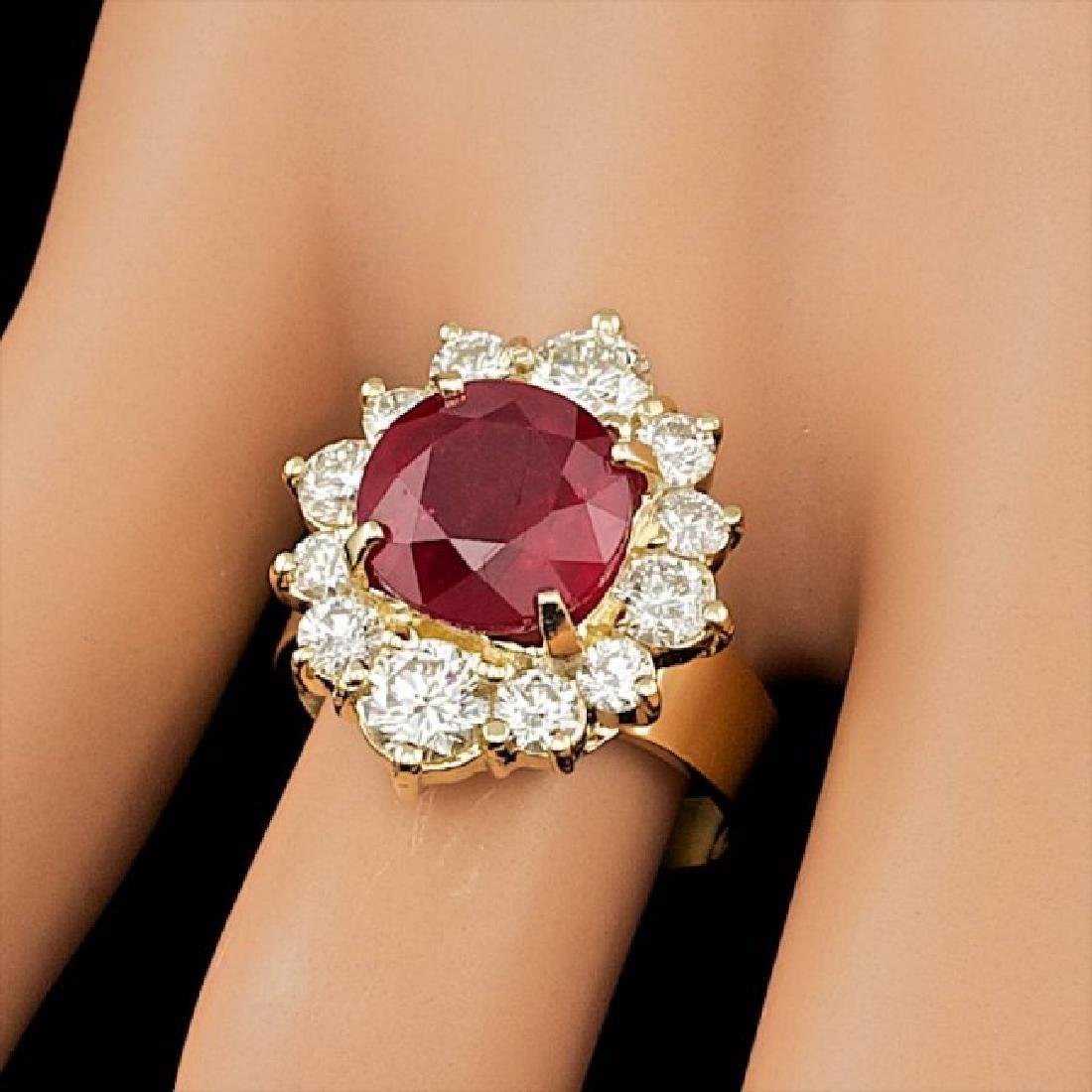 14k Yellow Gold 5.50ct Ruby 1.85ct Diamond Ring - 3