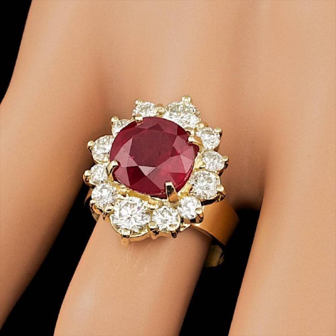 14k Yellow Gold 5.50ct Ruby 1.85ct Diamond Ring - 3