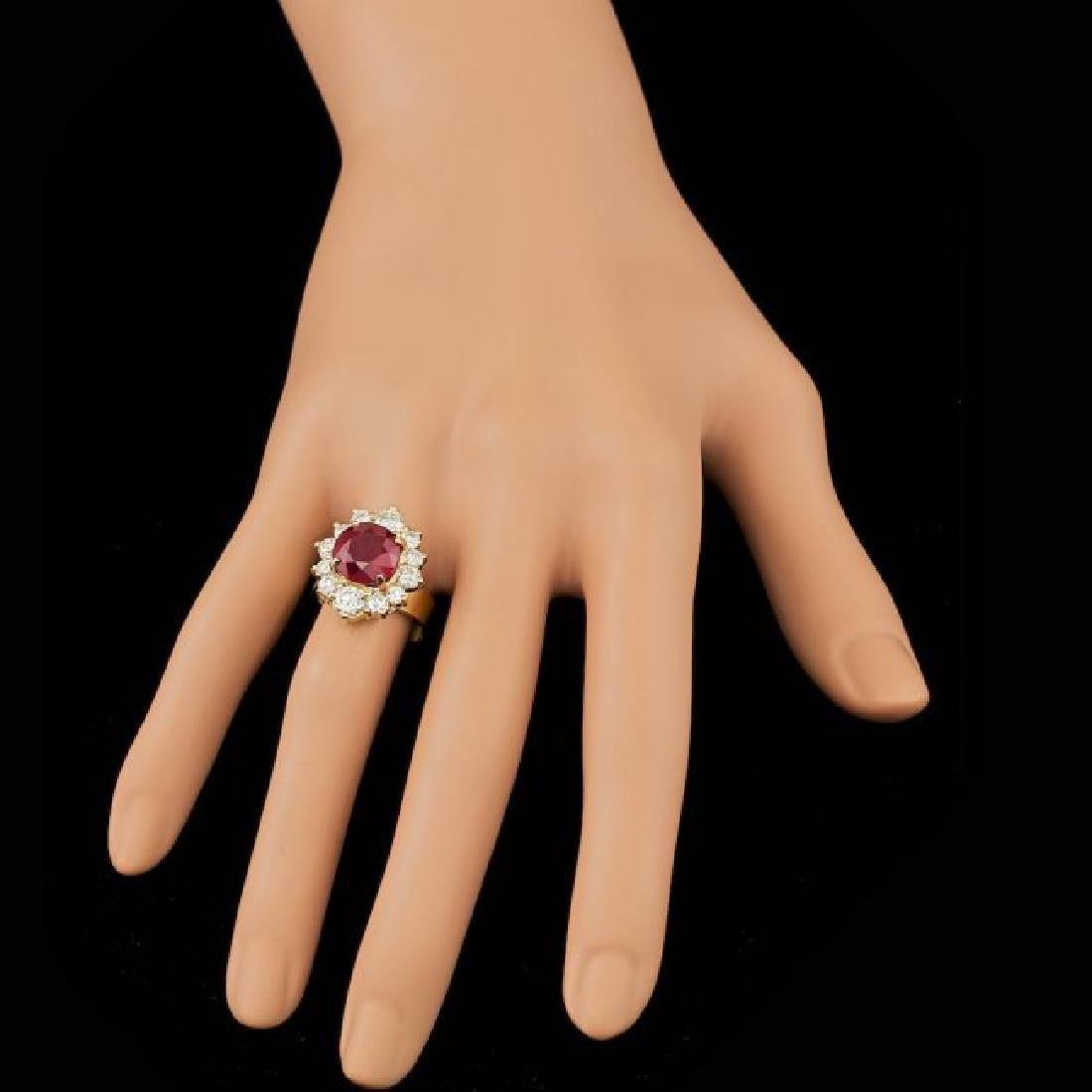 14k Yellow Gold 5.50ct Ruby 1.85ct Diamond Ring - 4