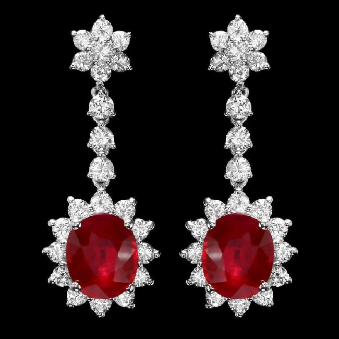 14k Gold 9.00ct Ruby 3.00ct Diamond Earrings - 2