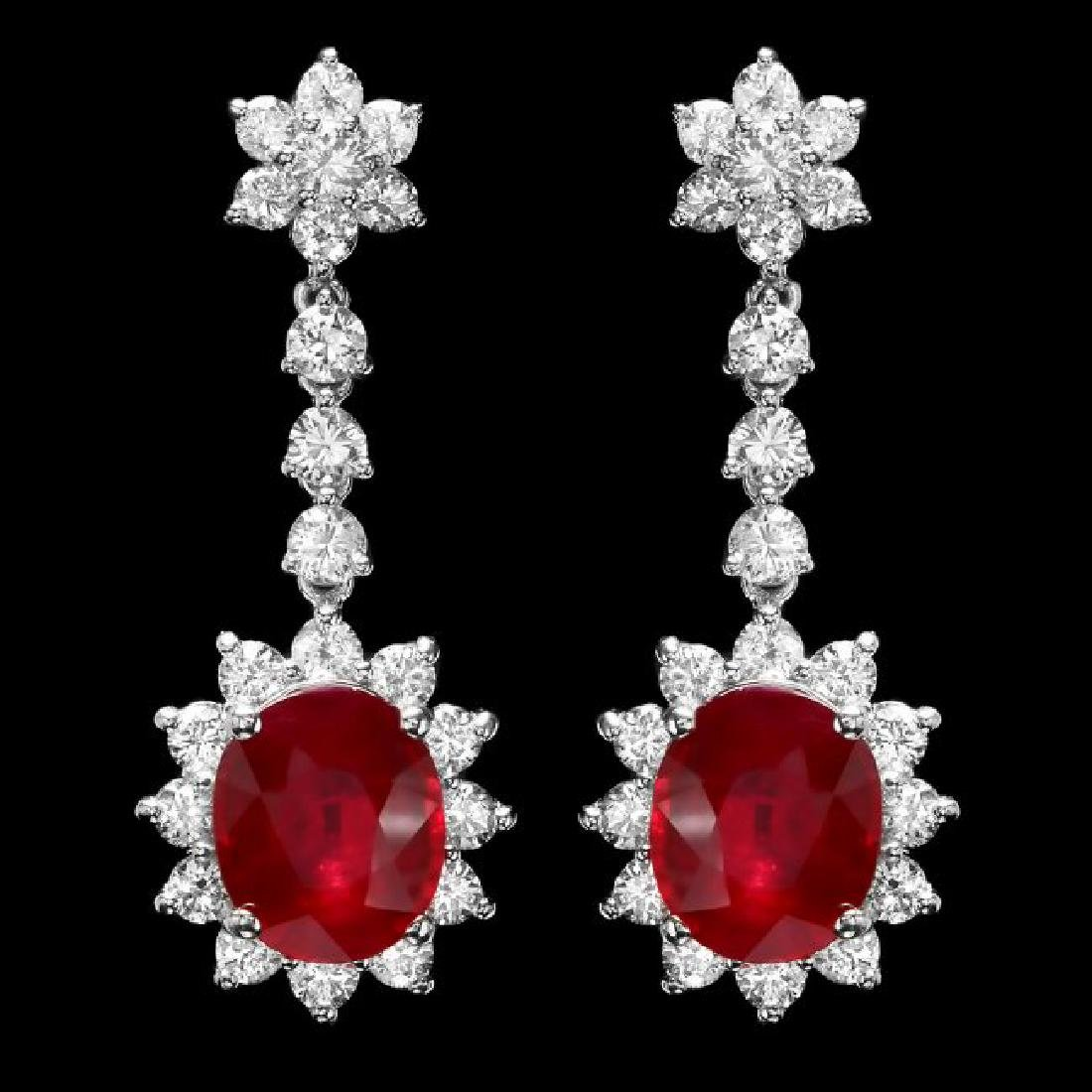 14k Gold 9.00ct Ruby 3.00ct Diamond Earrings - 2