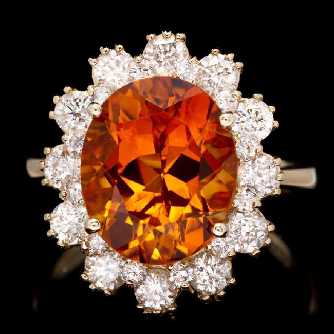 14k Gold 4.50ct Citrine 1.35ct Diamond Ring