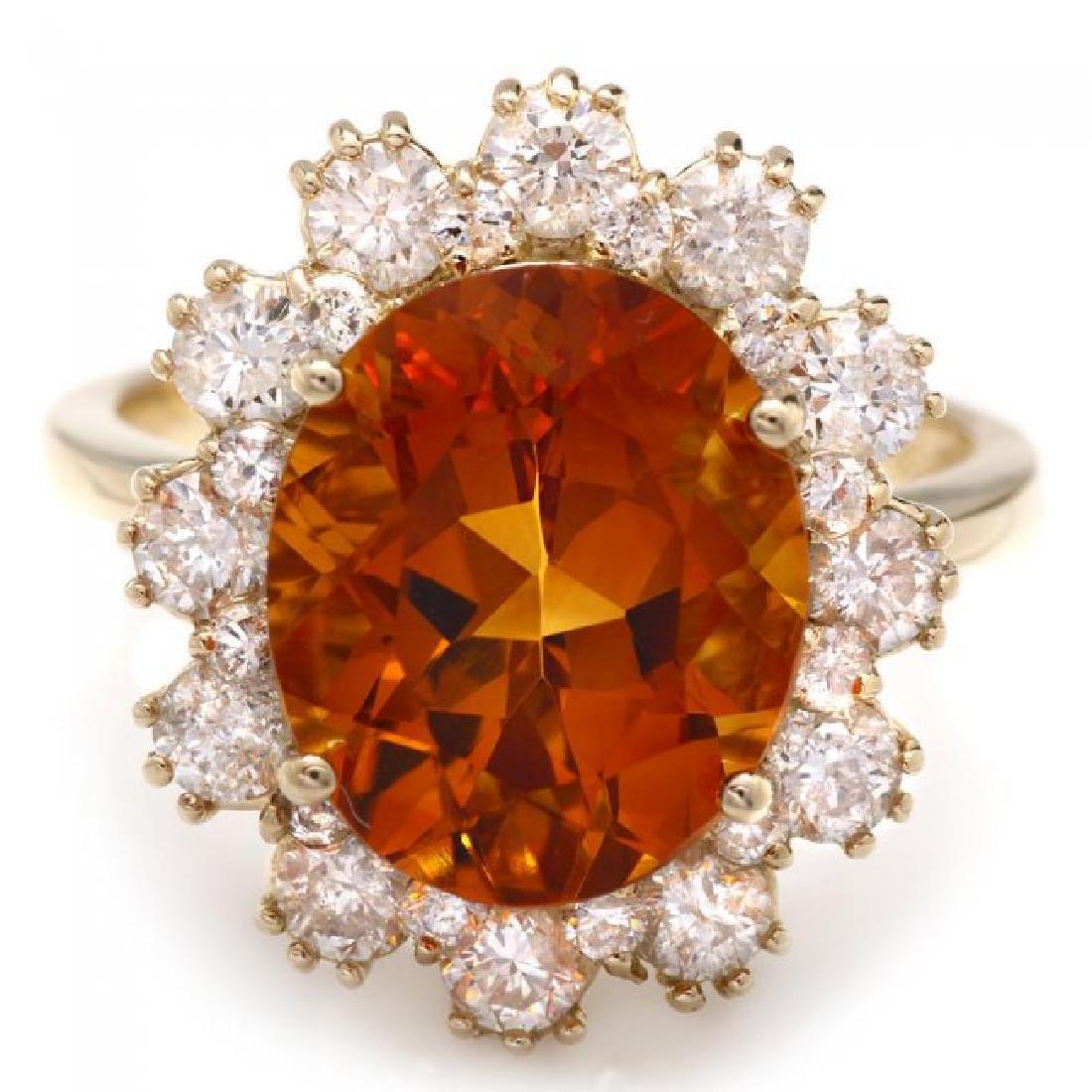 14k Gold 4.50ct Citrine 1.35ct Diamond Ring - 2