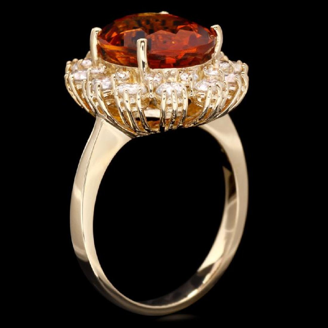 14k Gold 4.50ct Citrine 1.35ct Diamond Ring - 3