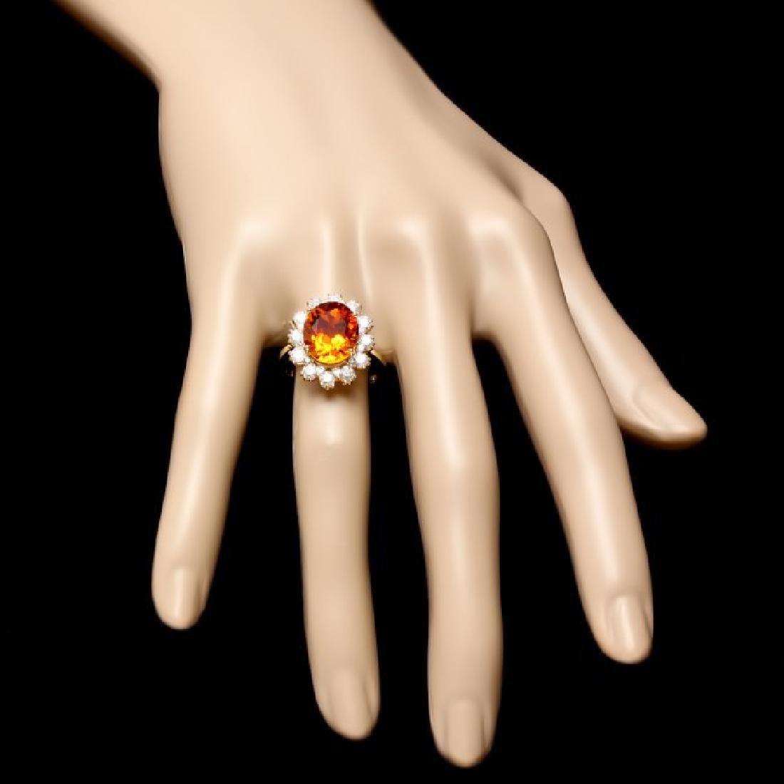 14k Gold 4.50ct Citrine 1.35ct Diamond Ring - 4