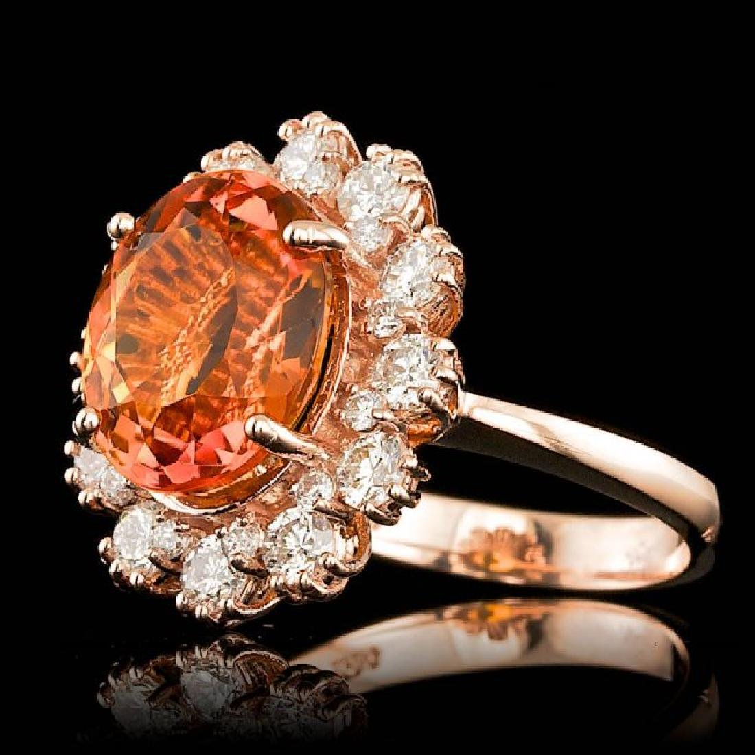 14k Rose Gold 4.50ct Citrine 1.30ct Diamond Ring - 2