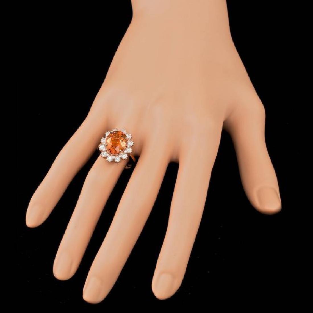 14k Rose Gold 4.50ct Citrine 1.30ct Diamond Ring - 3