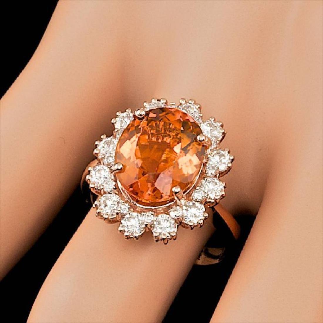 14k Rose Gold 4.50ct Citrine 1.30ct Diamond Ring - 4