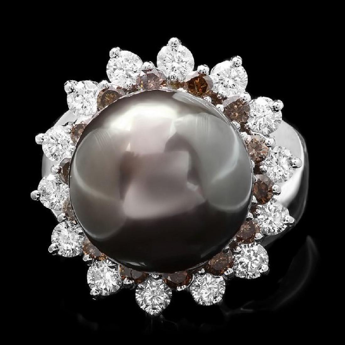 14k White Gold 13mm Pearl 1.6ct Diamond Ring