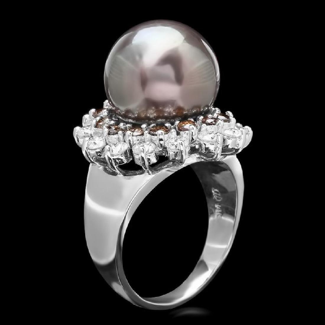 14k White Gold 13mm Pearl 1.6ct Diamond Ring - 2