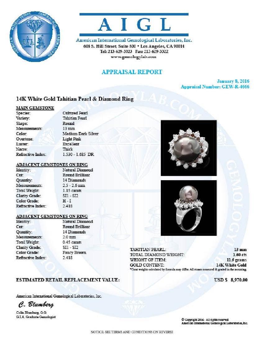 14k White Gold 13mm Pearl 1.6ct Diamond Ring - 4