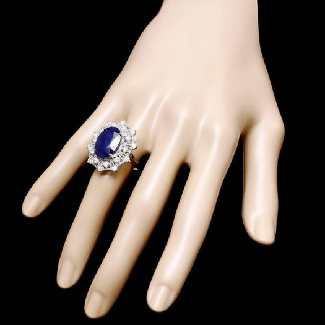 14k Gold 9.00ct Sapphire 1.35ct Diamond Ring - 3