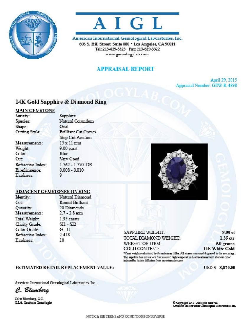 14k Gold 9.00ct Sapphire 1.35ct Diamond Ring - 4