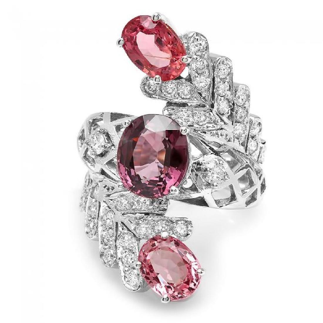 14k White Gold 5.5ct Spinel 1.00ct Diamond Ring - 2