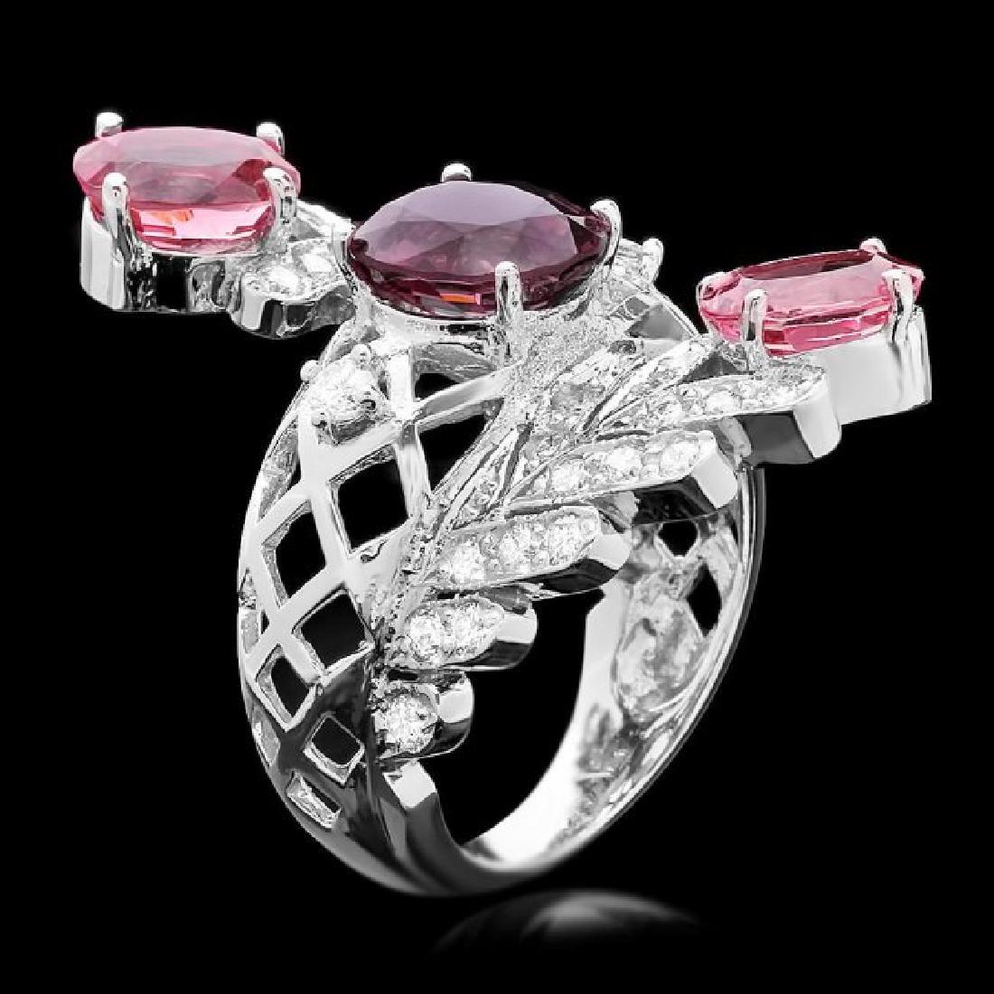 14k White Gold 5.5ct Spinel 1.00ct Diamond Ring - 3