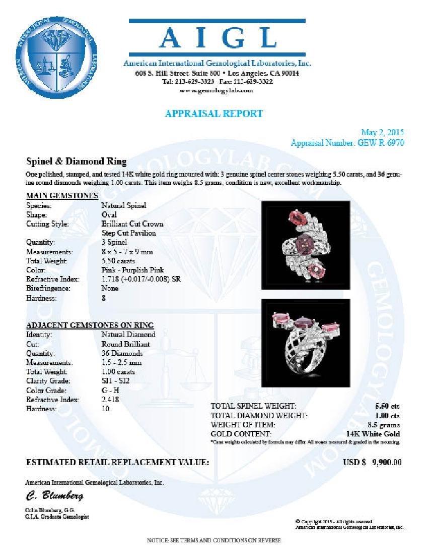 14k White Gold 5.5ct Spinel 1.00ct Diamond Ring - 5