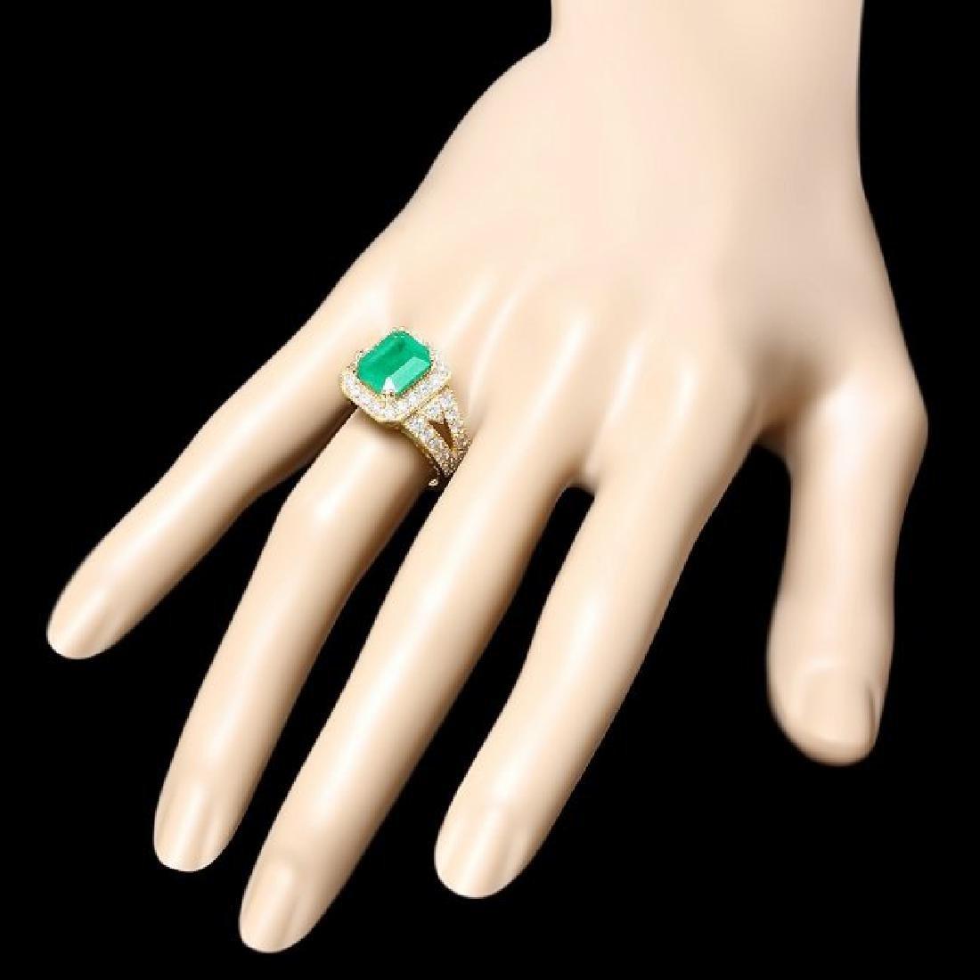 14k Gold 2.70ct Emerald 1.30ct Diamond Ring - 3