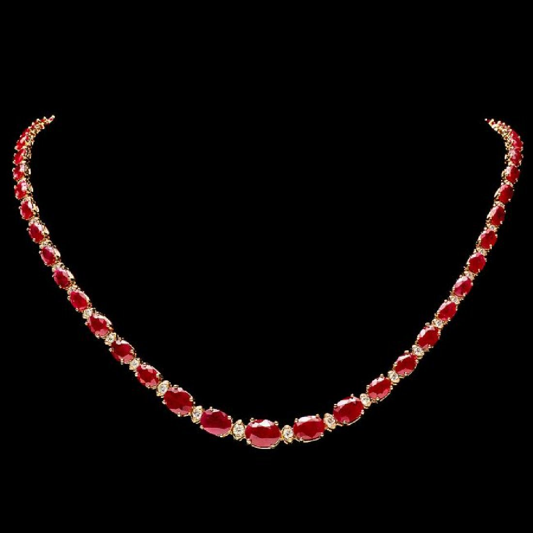 14k Gold 30.00ct Ruby 1.60ct Diamond Necklace