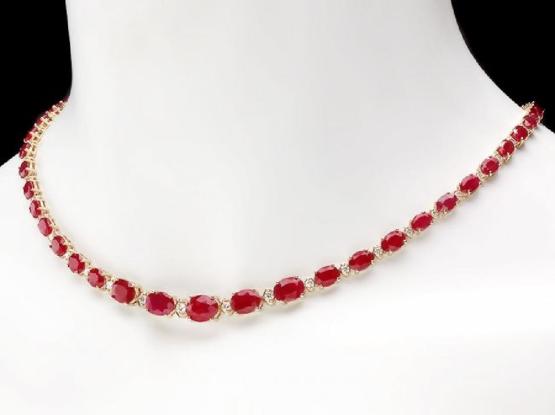 14k Gold 30.00ct Ruby 1.60ct Diamond Necklace - 2
