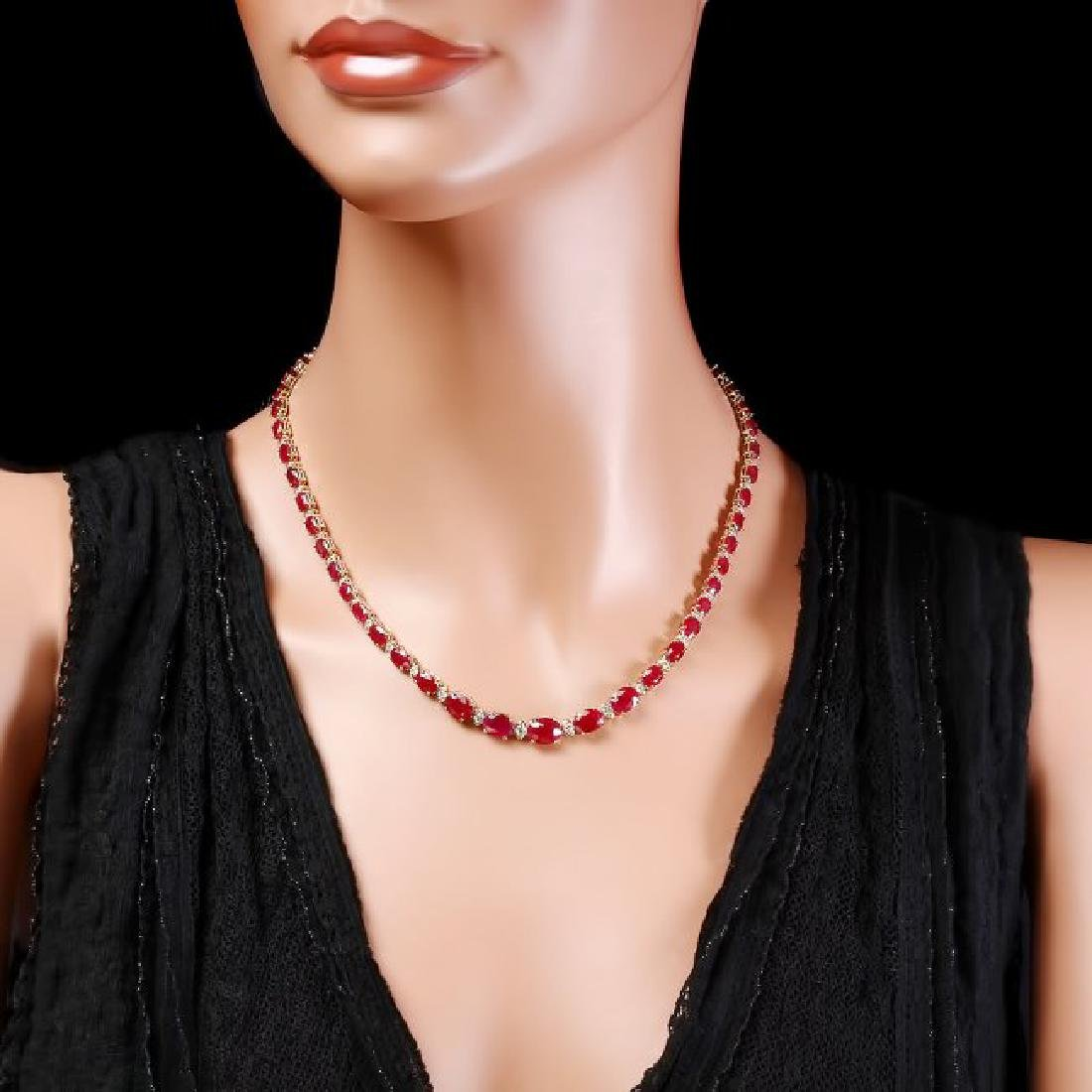 14k Gold 30.00ct Ruby 1.60ct Diamond Necklace - 4